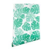 Deny Designs Bianca Green Linocut Monstera Peel and Stick Wallpaper