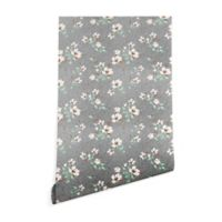Deny Designs Holli Zollinger Linen Floral Mint 2-Foot x 8-Foot Peel and Stick Wallpaper