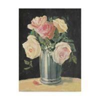 Trademark Fine Art Carol Rowan Silver Vase I On Black 35-inch x 47-Inch Canvas Wall Art