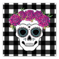 Designs Direct Sugar Skull Buffalo Check 16-Inch Square Canvas Wall Art