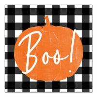 """Designs Direct """"Boo"""" Buffalo Check 16-Inch Square Canvas Wall Art"""