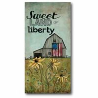 """Courtside Market """"Sweet Land of Liberty"""" 14-Inch x 28-Inch Canvas Wall Art"""