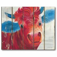 Courtside Market Cow 24-Inch x 20-Inch Wall Art in Red/Blue