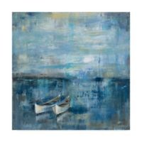 Trademark Fine Art 18-Inch Square Silvia Vassileva Two Boats Blue Canvas Wall Art
