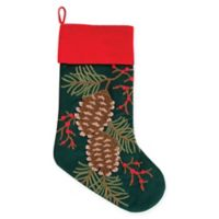C&F Home Pinecones Stocking in Green
