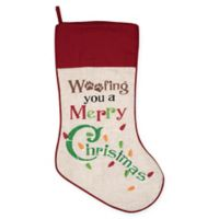 "6-Inch ""Woofing You A Merry Christmas"" Stocking in Red/White"
