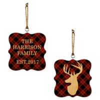 Designs Direct Plaid Deer 2-Sided Wood Ornament in Red