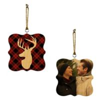 Designs Direct Plaid Deer 2-Sided Wood Ornaments in Red