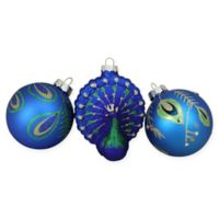 Northlight® Peacock Design Glass Ornaments (Set of 3)