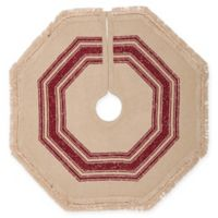 VHC Brands Vintage Burlap Striped Mini Christmas Tree Skirt in Red