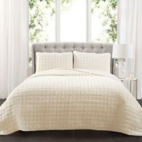 Lush Decor Neeley Faux Fur King Quilt Set in Ivory