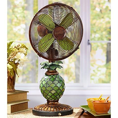 Deco Breeze 174 Mosaic Glass Pineapple Table Fan Bed Bath