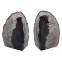 Agate Stone Large Bookends in Black (Set of 2)