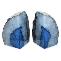 Agate Stone Extra-Large Bookends in Blue (Set of 2)