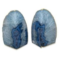 Agate Stone Small Bookends with Gold Trim in Blue (Set of 2)