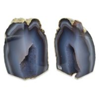 Agate Stone Small Bookends with Gold Trim in Natural (Set of 2)