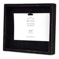 Prinz Crate 4-inch x 6-Inch Wood Clip Picture Frame in Black