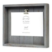Prinz Crate 4-inch x 6-Inch Wood Clip Picture Frame in Grey