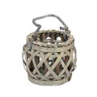 Small Willow-Wrapped Glass Lantern with Handle