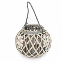 Medium Willow-Wrapped Glass Lantern with Handle