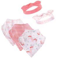 Hudson Baby® 5-Piece Unicorn Bib & Headband Set in Pink