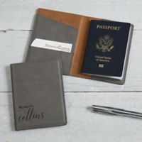 Stylish Name Passport Holder in Charcoal