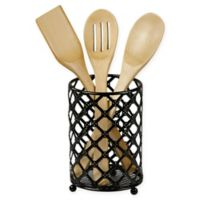 Home Basics Lattice Steel Utensil Holder in Black