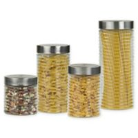 Home Basics 4-Piece Glass Canister Set in Clear/Silver