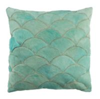 Safavieh Metallic Scale Cowhide Square Throw Pillow in Teal
