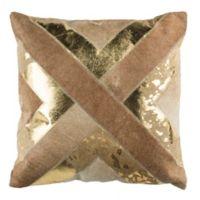 Safavieh Colma Metallic Cowhide Square Throw Pillow in Beige/Gold