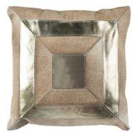 Safavieh Covina Metallic Cowhide Square Throw Pillow in Beige/Gold