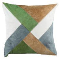 Safavieh Clovis Cowhide Square Throw Pillow in Beige/White