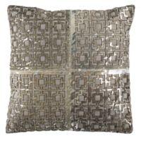 Safavieh Cami Metallic Cowhide Throw Pillow in Grey/Silver