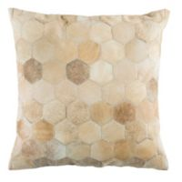 Safavieh Parker Cowhide Square Throw Pillow in Beige