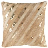 Safavieh Latta Metallic Cowhide Square Throw Pillow in Beige/Gold