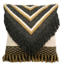 Safavieh Elettra Square Throw Pillow in Charcoal/Gold