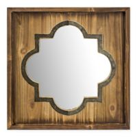 Crystal Art Trellis Whitewash 12-Inch Square Wall Mirror in Natural