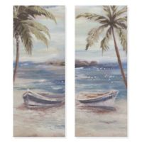 Boat Shore 16-Inch x 20-Inch Canvas Wall Art (Set of 2)