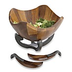 Nambe Anvil Scroll Salad Bowl with Servers