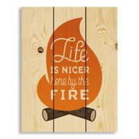 """Designs Direct """"Life is Nicer by the Fire"""" Pallet Wood Wall Art"""