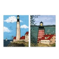 Red and White Lighthouse 16-Inch x 20-Inch Canvas Wall Art (Set of 2)