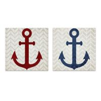 Anchor 14-Inch Square Canvas Wal Art (Set of 2)