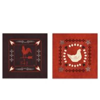 Little Red Farm Tile III 14-Inch Square Canvas Wall Art (Set of 2)