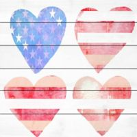 Marmont Hill Stars and Stripes Hearts 18-Inch Squared White Wood Wall Art
