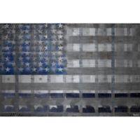 Marmont Hill Grey Striped Flag 60-Inch x 40-Inch Aluminum Wall Art