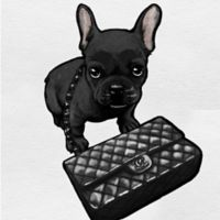 Oliver Gal™ Frenchie Noir Canvas 43-Inch Square Wall Art