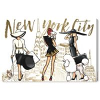 Oliver Gal™ NYC Girls and Pups 24-Inch x 16-Inch Canvas Wall Art in Black