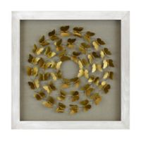 Distressed Shadowbox Butterfly Wall Art in White/Gold