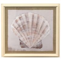 Seashell on Burlap 27.15-Inch Square Framed Wall Art