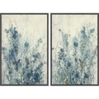 Marmont Hill 2-Piece Blue Spring III 32-Inch x 24-Inch Floater Framed Canvas Wall Art Set